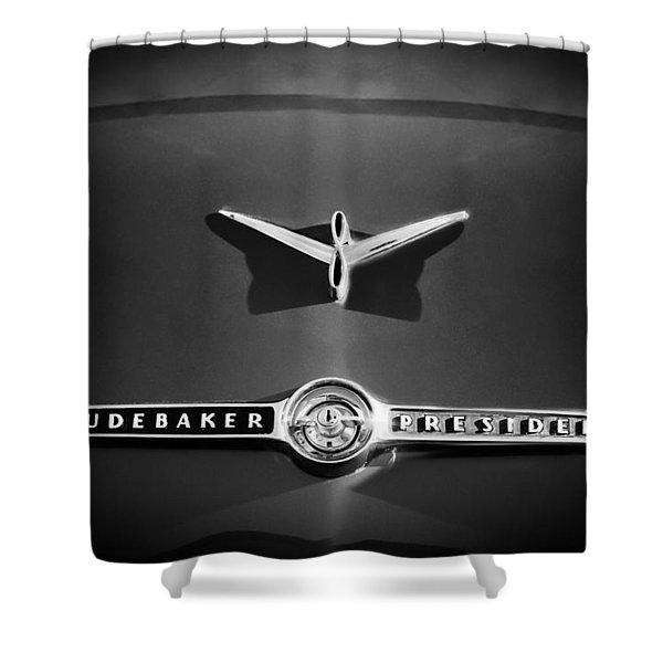 1955 Studebaker President Emblem Shower Curtain by Jill Reger