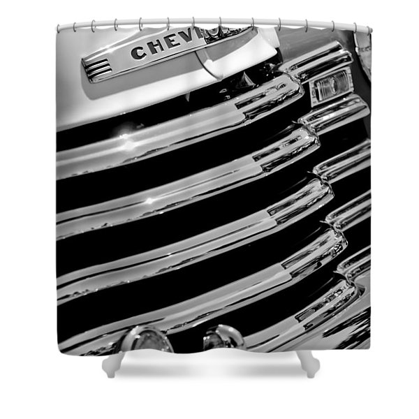 1956 Chevrolet 3100 Pickup Truck Grille Emblem Shower Curtain by Jill Reger