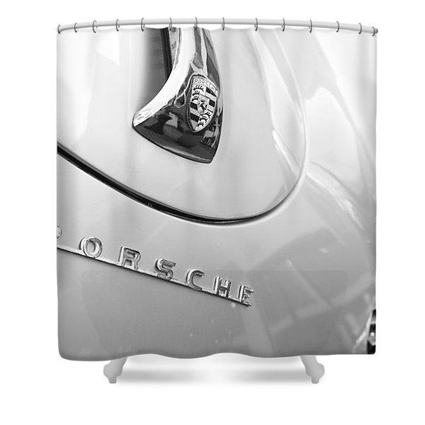 1960 Porsche 356 B 1600 Super Roadster Hood Emblem Shower Curtain by Jill Reger