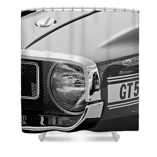 1969 Shelby GT500 Convertible 428 Cobra Jet Grille Emblem Shower Curtain by Jill Reger