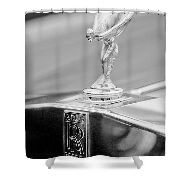 1984 Rolls-royce Silver Spur Hood Ornament Shower Curtain by Jill Reger