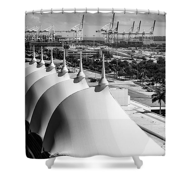 Port Of Miami Cruise Ship Terminal Miami Florida Shower Curtain by Rene Triay Photography