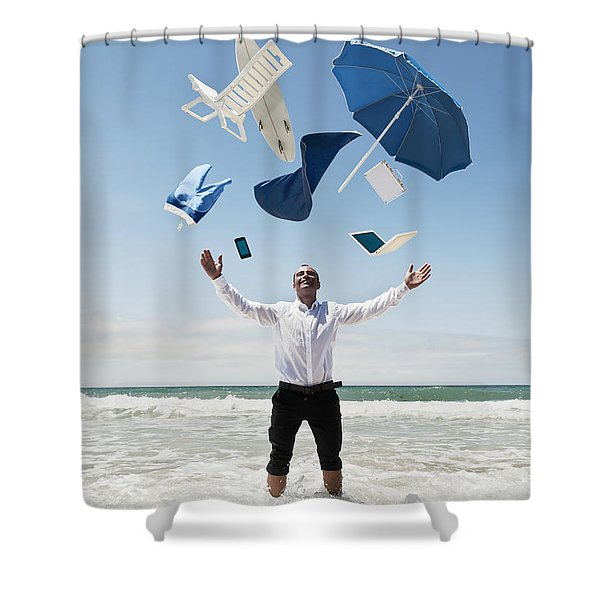 A Man Stands In The Ocean With Items Shower Curtain by Ben Welsh