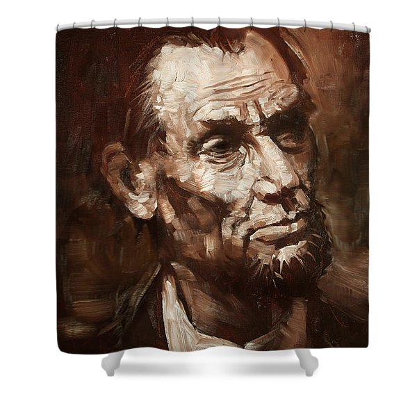 Abraham Lincoln Shower Curtain by Ylli Haruni