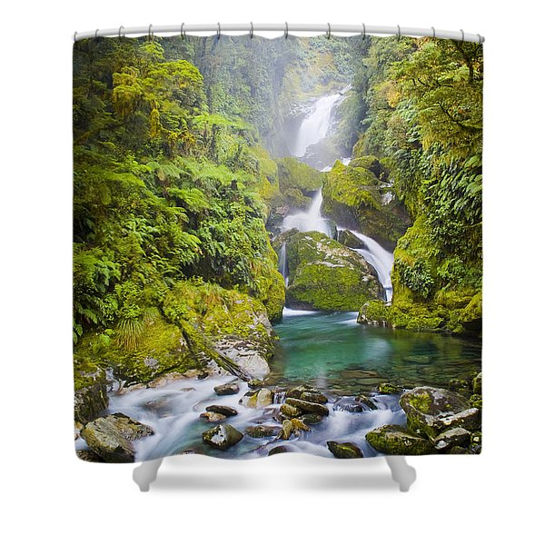 Amazing Waterfall Shower Curtain by Tim Hester