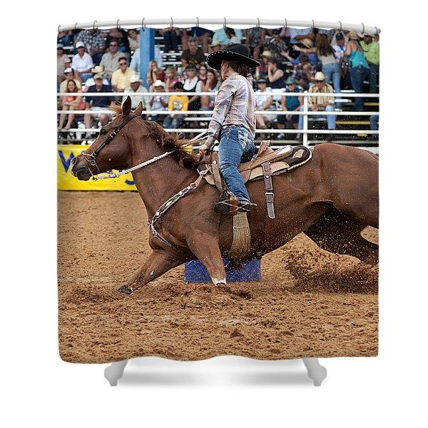 American Rodeo Female Barrel Racer White Blaze Chestnut Horse II Shower Curtain by Sally Rockefeller