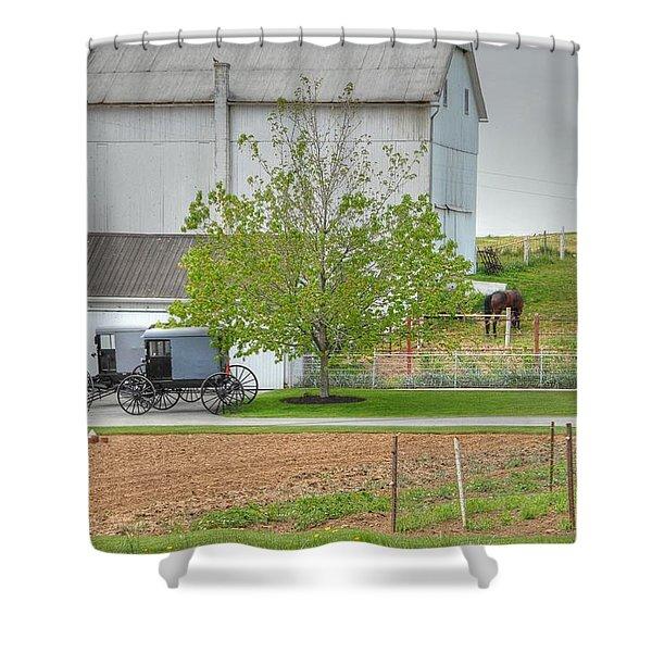 An Amish Farm Shower Curtain by Dyle   Warren