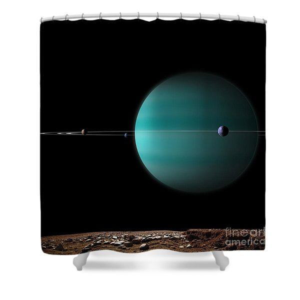 Artists Depiction Of A Ringed Gas Giant Shower Curtain by Marc Ward