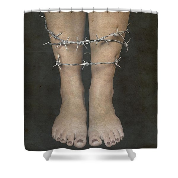 Barbed Wire Shower Curtain by Joana Kruse
