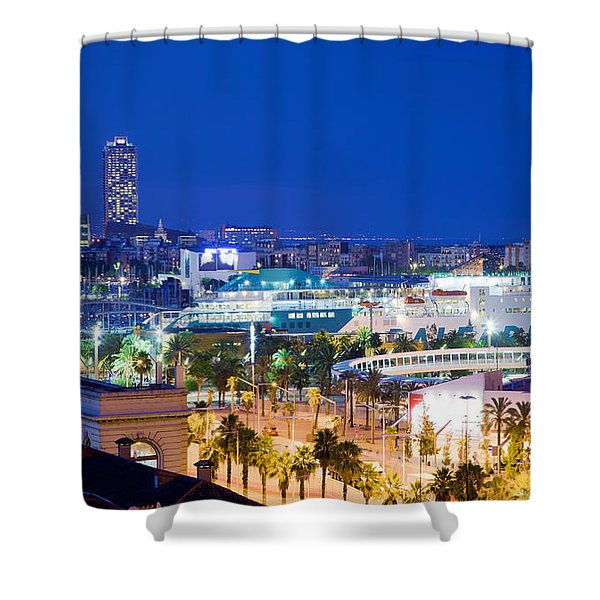 Barcelona and its skyline at night Shower Curtain by Michal Bednarek