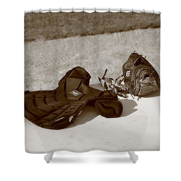Baseball Glove And Chest Protector Shower Curtain by Frank Romeo