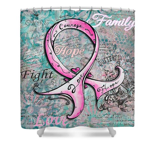 Beautiful Inspirational Elegant Pink Ribbon Design Art for Breast Cancer Awareness Shower Curtain by Megan Duncanson