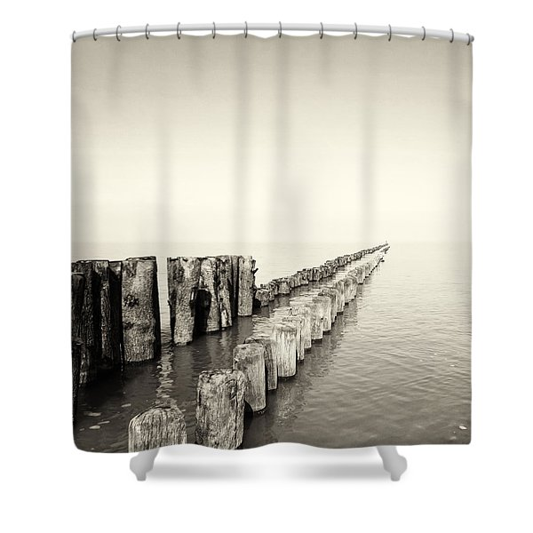 Breakwaters Shower Curtain by Wim Lanclus
