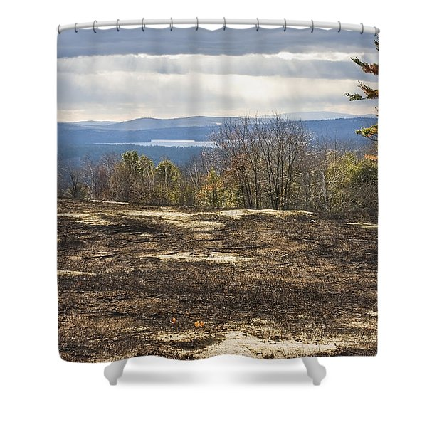 Burnt Blueberry Field In Maine Shower Curtain by Keith Webber Jr