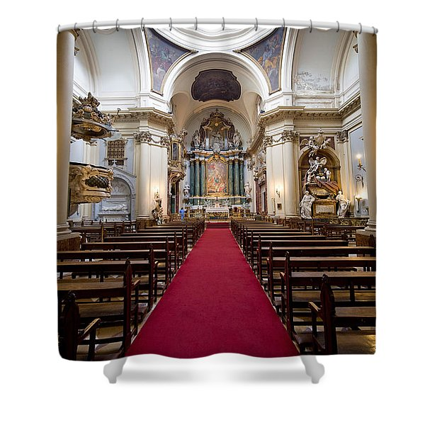 Church of Santa Barbara Interior in Madrid Shower Curtain by Artur Bogacki