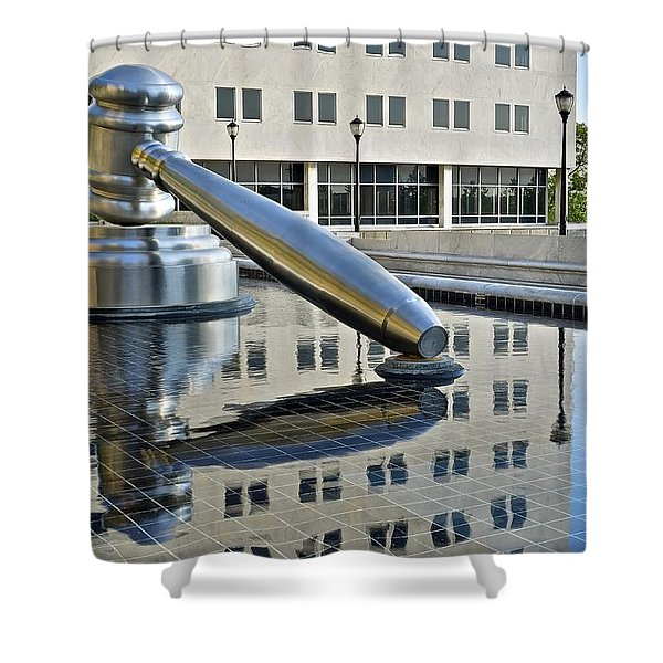 Columbus Ohio Justice Center Shower Curtain by Frozen in Time Fine Art Photography
