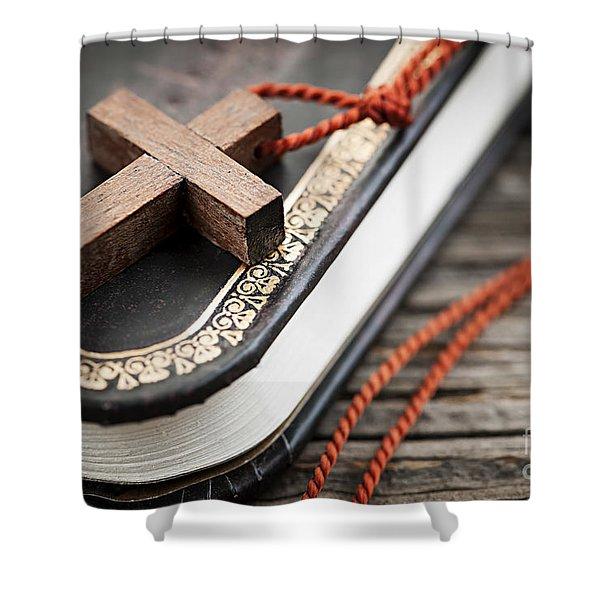 Cross on Bible Shower Curtain by Elena Elisseeva