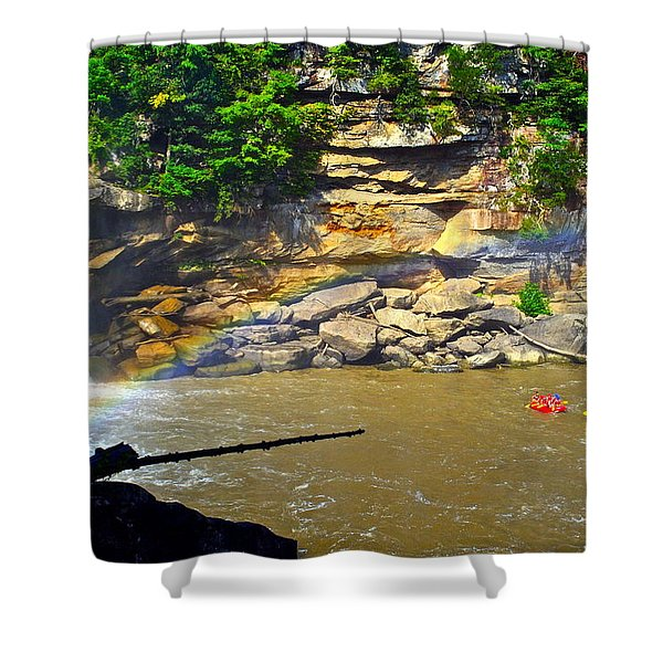 Cumberland Falls Rainbow Shower Curtain by Frozen in Time Fine Art Photography