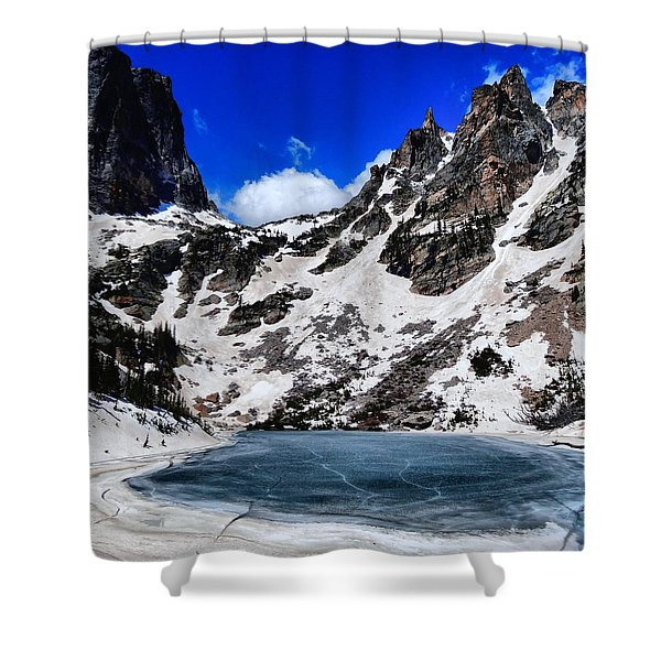 Emerald Lake In Rocky Mountain National Park Shower Curtain by Dan Sproul