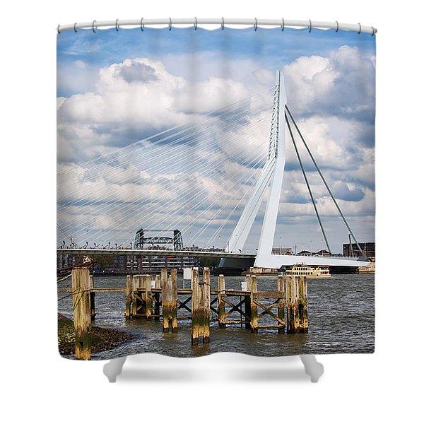 Erasmus Bridge In Rotterdam Shower Curtain by Artur Bogacki