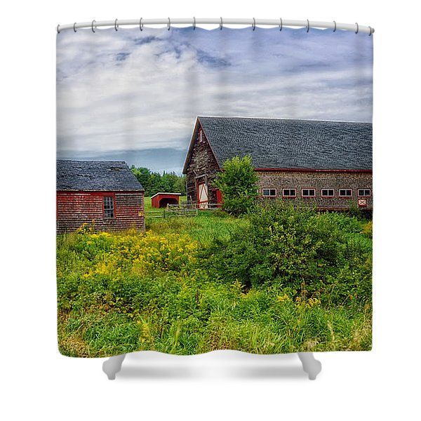 Farm Scene In Rural Maine Shower Curtain by Mountain Dreams