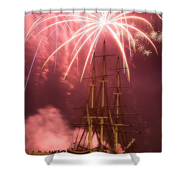 Fireworks exploding over Salem's Friendship Shower Curtain by Jeff Folger
