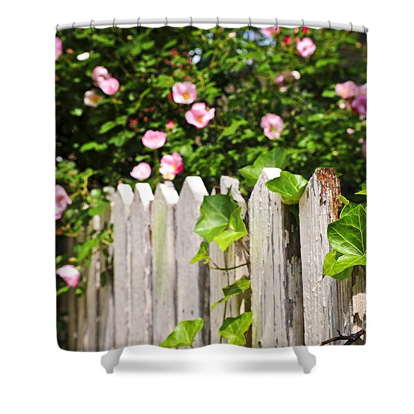 Garden fence with roses Shower Curtain by Elena Elisseeva