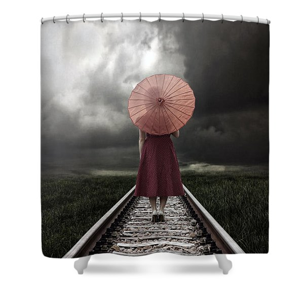 girl on tracks Shower Curtain by Joana Kruse