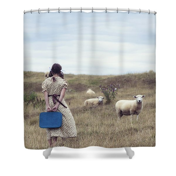 girl with sheeps Shower Curtain by Joana Kruse
