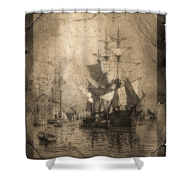 Grungy Historic Seaport Schooner Shower Curtain by John Stephens