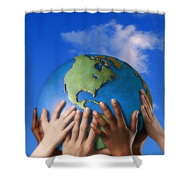 Hands On A Globe Shower Curtain by Don Hammond