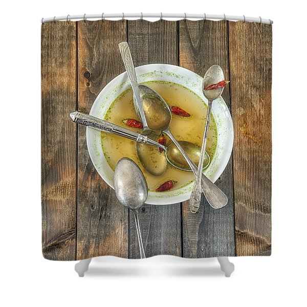 hot soup Shower Curtain by Joana Kruse