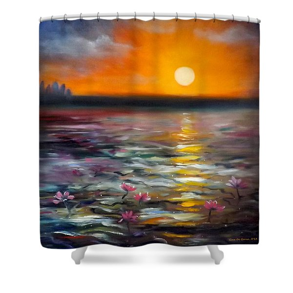 Shower Curtains - Lily Sunset Shower Curtain by Gina De Gorna