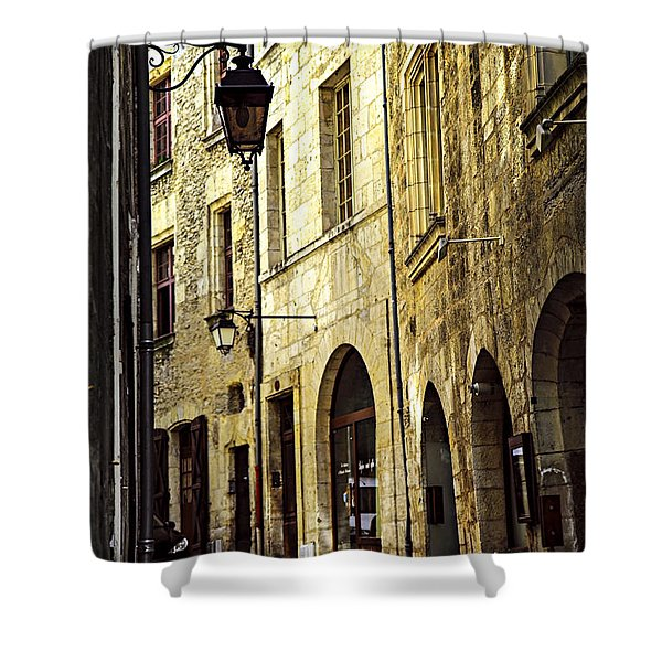 Medieval street in France Shower Curtain by Elena Elisseeva