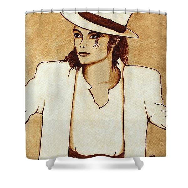 Michael Jackson original coffee painting Shower Curtain by Georgeta  Blanaru