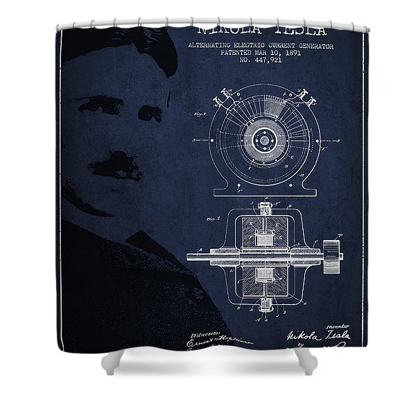 Nikola Tesla Patent From 1891 Shower Curtain by Aged Pixel
