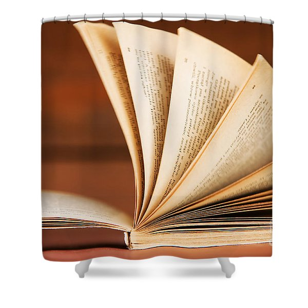Open book in retro style Shower Curtain by Michal Bednarek