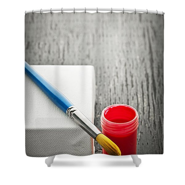 Paintbrush on canvas Shower Curtain by Elena Elisseeva