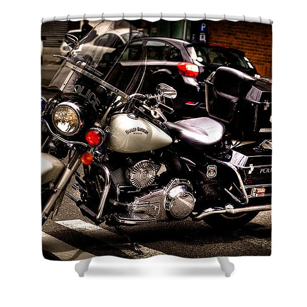 Police Harley Shower Curtain by David Patterson