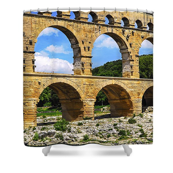 Pont Du Gard In Southern France Shower Curtain by Elena Elisseeva