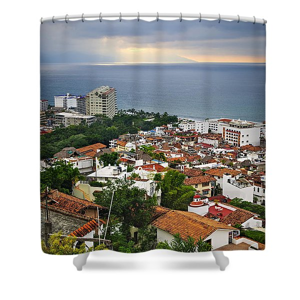 Puerto Vallarta And Pacific Ocean Shower Curtain by Elena Elisseeva