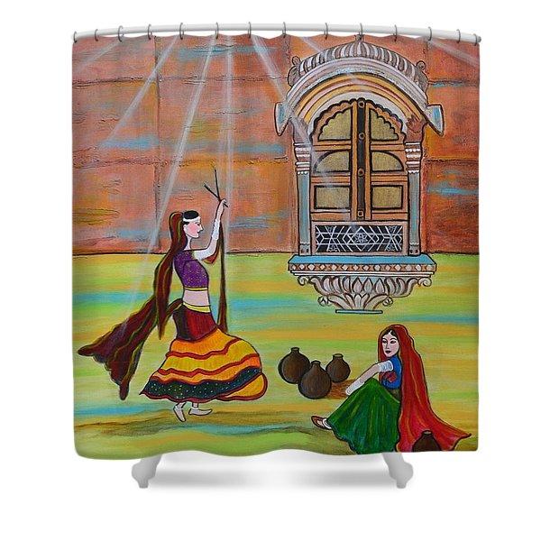 Rajasthani Ladies-dandiya Shower Curtain by Manjiri Kanvinde