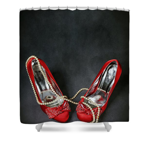 red shoes Shower Curtain by Joana Kruse