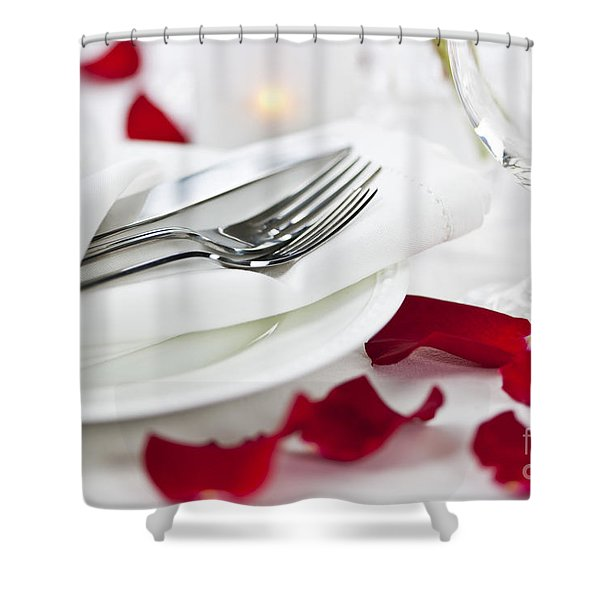Romantic dinner setting with rose petals Shower Curtain by Elena Elisseeva