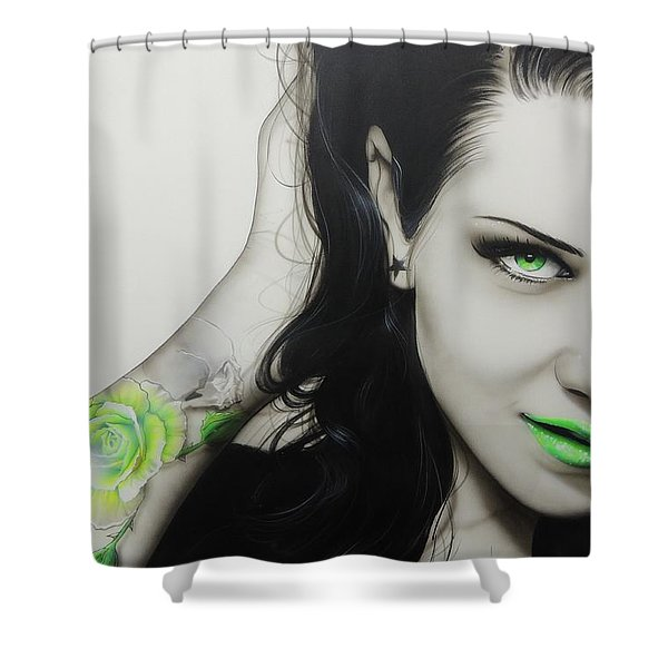 'Rose of Envy' Shower Curtain by Christian Chapman Art