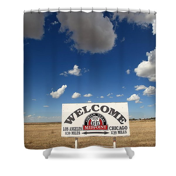 Route 66 - Midpoint Sign Shower Curtain by Frank Romeo