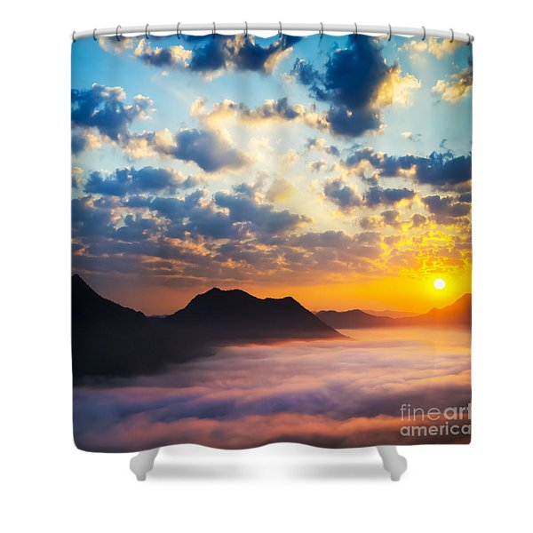 Sea of clouds on sunrise with ray lighting Shower Curtain by Setsiri Silapasuwanchai