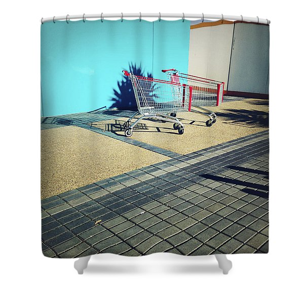 Shopping Trolleys Shower Curtain by Les Cunliffe