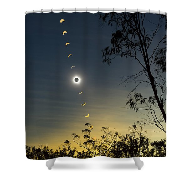 Solar Eclipse Composite, Queensland Shower Curtain by Philip Hart