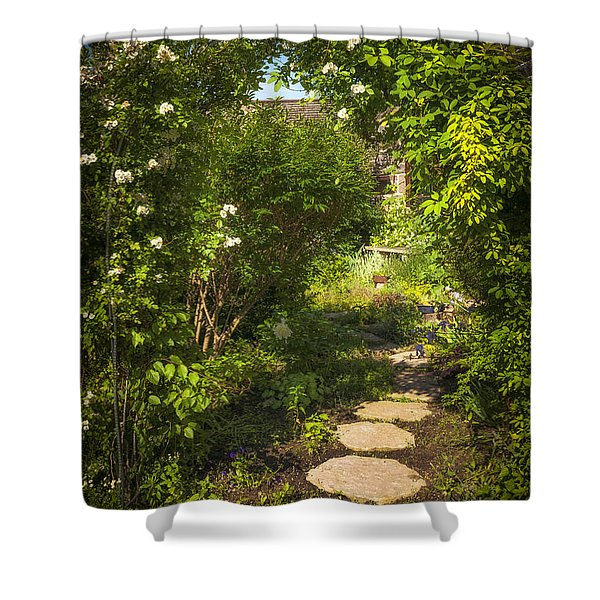 Summer garden and path Shower Curtain by Elena Elisseeva